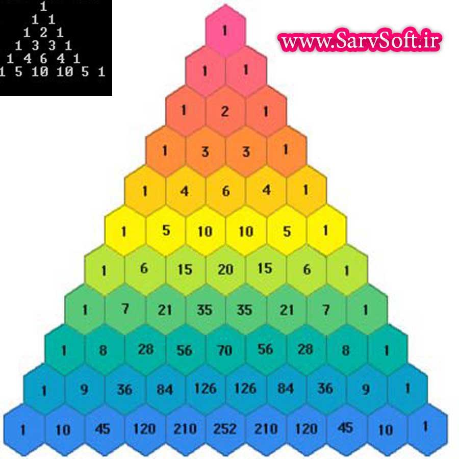 دانلود کد رسم مثلث پاسکال با اعداد در سی پلاس پلاس